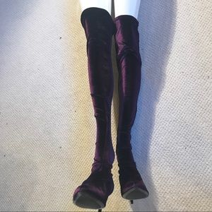 Zara Aubergine Velvet Over Knee Boots  New w tags